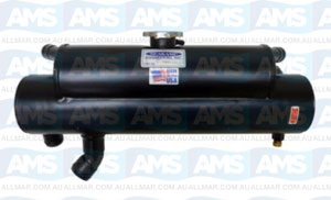 """Mercruiser Heat Exchanger Chev Log Front 4"""" X 18-1/4"""" Lower Outlet 45 Degree"""
