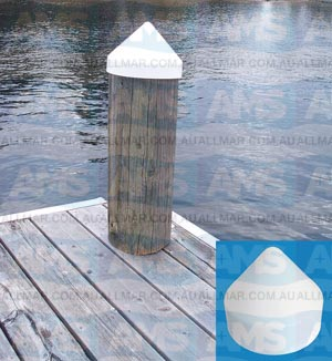 Dock Edge Piling Caps White 17.8cm Conical