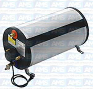 Boat Boiler Cylindrical 30L Stainless Steel 1200W, Suitable for horizontal or vertical installation.