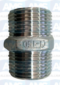 "316 Stainless Hex Nipple 1/8"" Gas"
