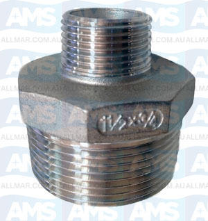 "316 Stainless Reducing Hex Nipple 1 1/2"" X 1 1/4"""
